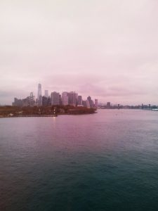 New York at dawn from the Queen Mary 2
