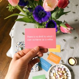 write now cards, writing prompts, positive affirmation for writers, writers community